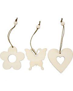 Trädekorationer, Blommor, fjärilar, hjärtan, stl. 6 cm, 9 st./ 1 förp.