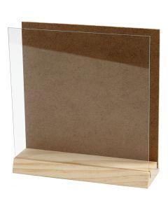 3D platta med glas, stl. 15x15 cm, 1 set