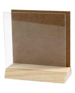 3D platta med glas, stl. 10x10 cm, 1 set