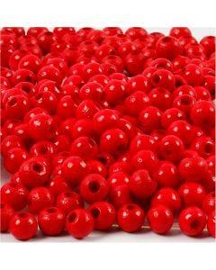 Träpärlor, Dia. 5 mm, Hålstl. 1,5 mm, röd, 6 g/ 1 förp., 150 st.