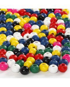 Träpärlor, Dia. 4 mm, Hålstl. 1,5 mm, mixade färger, 6 g/ 1 förp.