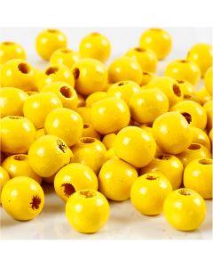Träpärlor, Dia. 8 mm, Hålstl. 2 mm, gul, 15 g/ 1 förp., 80 st.
