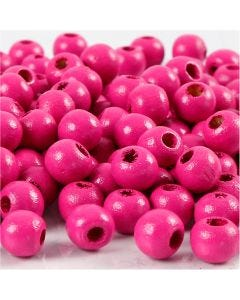 Träpärlor, Dia. 8 mm, Hålstl. 2 mm, rosa, 15 g/ 1 förp., 80 st.