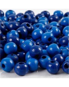 Träpärlor, Dia. 8 mm, Hålstl. 2 mm, blå, 15 g/ 1 förp., 80 st.