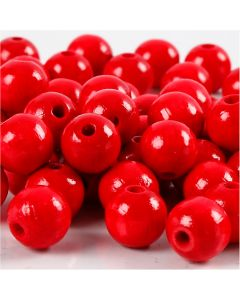 Träpärlor, Dia. 10 mm, Hålstl. 3 mm, röd, 20 g/ 1 förp., 70 st.