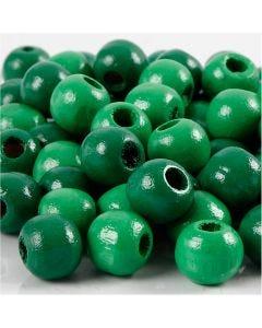 Träpärlor, Dia. 10 mm, Hålstl. 3 mm, grön, 20 g/ 1 förp., 70 st.