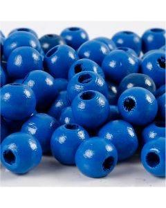 Träpärlor, Dia. 10 mm, Hålstl. 3 mm, blå, 20 g/ 1 förp., 70 st.
