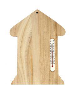 Trähus med termometer, stl. 23,5x16,5 cm, 1 st.