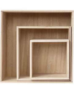 Förvaringslådor, H: 15x15+21,5x21,5+28x28 cm, djup 12,5 cm, 3 st./ 1 set
