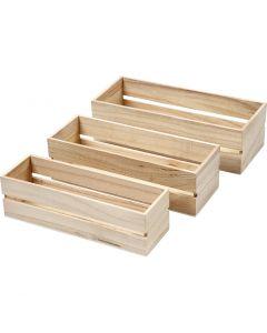 Trälådor, H: 6,5+7+7,5 cm, L: 22+23,5+25 cm, B: 7+8,5+10 cm, 3 st./ 1 set