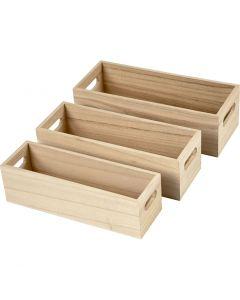 Depotlåda, H: 6,5-7,5 cm, L: 22+23,5+25 cm, B: 6,5+7,5+8,5 cm, 3 st./ 1 set