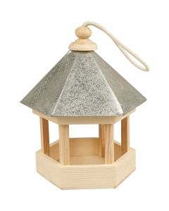 Fågelbord med zinktak, stl. 22x18x16,5 cm, 1 st.