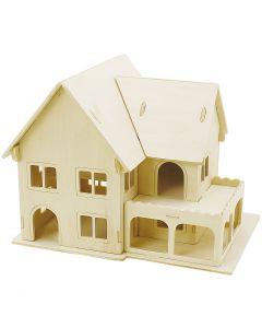 3D Pussel, Hus med veranda, stl. 22,5x16x17,5 , 1 st.