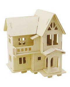 3D Pussel, Hus med altan, stl. 15,8x17,5x19,5 , 1 st.