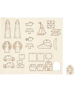 Sätt-ihop-själv träfigurer, vardag, L: 15,5 cm, B: 17 cm, 1 förp.