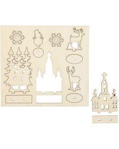 Sätt-ihop-själv träfigurer, kyrka, julgran, ren, L: 15,5 cm, B: 17 cm, 1 förp.