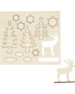 Sätt-ihop-själv träfigurer, skog med rådjur, L: 15,5 cm, B: 17 cm, 1 förp.