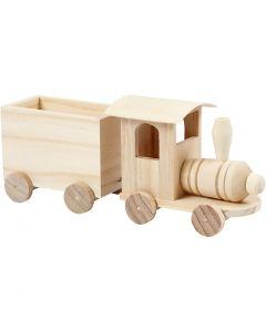Tåg med vagn, H: 9,5 cm, L: 21,5 cm, B: 6,5 cm, 1 st.