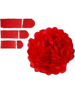 Papperspompomer, Dia. 20+24+30 cm, 16 g, röd, 3 st./ 1 förp.