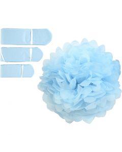 Papperspompomer, Dia. 20+24+30 cm, 16 g, ljusblå, 3 st./ 1 förp.