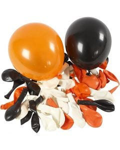 Ballonger, runda, Dia. 23-26 cm, svart, orange, vit, 100 st./ 1 förp.