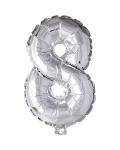 Folieballong, 8, H: 41 cm, silver, 1 st.