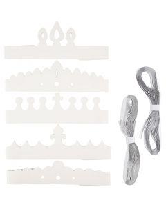 Kronor av papp, H: 10-16,5 cm, L: 60 cm, 230 g, vit, 50 st./ 1 förp.