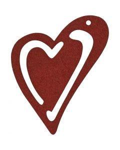 Skevt hjärta, stl. 55x45 mm, vinröd, 10 st./ 1 förp.