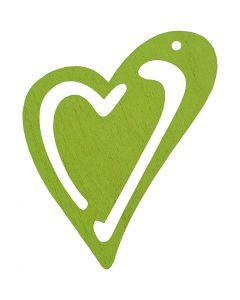 Skevt hjärta, stl. 55x45 mm, limegrön, 10 st./ 1 förp.