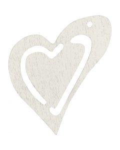 Skevt hjärta, stl. 25x22 mm, vit, 20 st./ 1 förp.