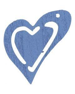 Skevt hjärta, stl. 25x22 mm, ljusblå, 20 st./ 1 förp.