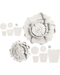 Pappersblommor, Dia. 15+25 cm, 230 g, vit, 2 st./ 1 förp.