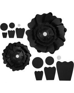 Pappersblommor, Dia. 15+25 cm, 230 g, svart, 2 st./ 1 förp.
