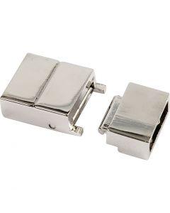 Klicklås, stl. 25x16x6 mm, Hålstl. 4x8 mm, försilvrad, 1 st.