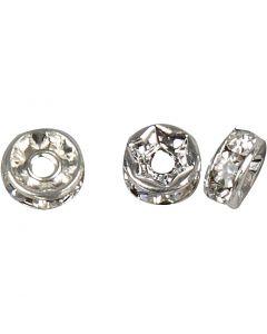 Rondell med rhinstenar, Dia. 6 mm, Hålstl. 1,2 mm, försilvrad, 50 st./ 1 förp.