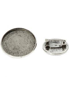 Broschnål, Dia. 18+25 mm, antiksilver, 6 st./ 1 förp.