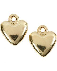 Hjärtan, stl. 13x15 mm, förgylld, 10 st./ 1 förp.