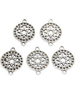 Smyckeberlock, Dia. 14 mm, Hålstl. 1,2 mm, försilvrad, 5 st./ 1 förp.