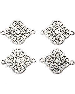 Smyckeberlock, Dia. 15 mm, Hålstl. 1,2 mm, försilvrad, 4 st./ 1 förp.
