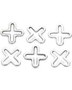 Smyckeberlocker, L: 14 mm, försilvrad, 6 st./ 1 förp.