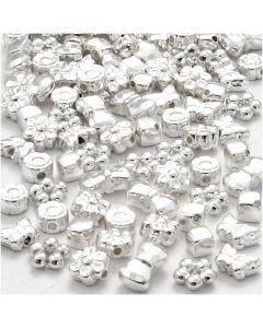 Figurpärlor, stl. 4-10 mm, Hålstl. 1-1,5 mm, försilvrad, 200 st./ 1 förp.