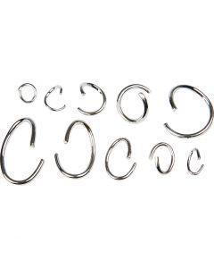 Oval- och O-ring sortiment, försilvrad, 800 mix./ 1 förp.