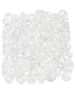 Facettpärlor, stl. 3x4 mm, Hålstl. 0,8 mm, kristall, 100 st./ 1 förp.