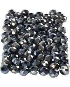 Facettpärlor, stl. 5x6 mm, Hålstl. 1 mm, svartmetallic, 100 st./ 1 förp.