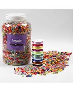 Pärlor och elastisk smycketråd, stl. 6-20 mm, Hålstl. 1,5-6 mm, 1 förp.