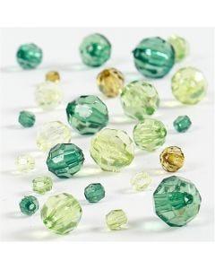 Harmoni facetterade plastpärlor, mixade, stl. 4-12 mm, Hålstl. 1-2,5 mm, grön, 45 g/ 1 förp.