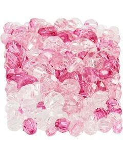 Harmoni facetterade plastpärlor, mixade, stl. 4-12 mm, Hålstl. 1-2,5 mm, pink (081), 250 g/ 1 förp.