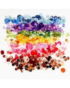 Harmoni facetterade plastpärlor, mixade, Dia. 4-12 mm, Hålstl. 1-2,5 mm, mixade färger, 7x250 g/ 1 förp.