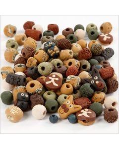 Keramikpärlor, stl. 7-18 mm, Hålstl. 2-4 mm, mixade färger, 300 g/ 1 förp.