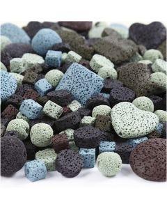Lavapärlor, mix, stl. 6-37 mm, Hålstl. 1+2 mm, mixade färger, 20 strängar/ 1 förp.